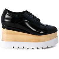 Platforme Lace Up In Black Brushed Leather Oxford Style Femei