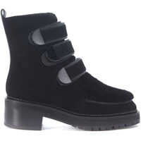 Ghete & Cizme Vanna Ankle Boots In Black Suede And Shearling Femei