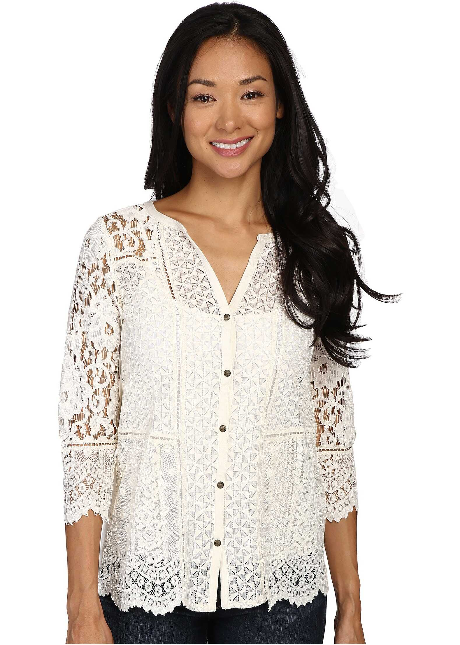 Lucky Brand Lace Mix Top Birch