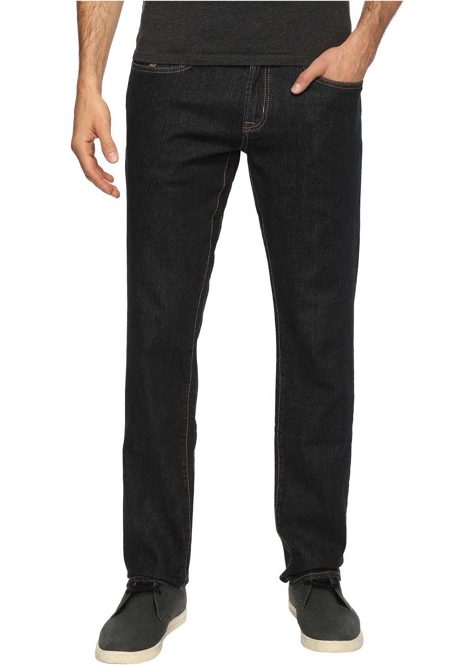 U.S. POLO ASSN. Slim Straight Stretch Denim Five-Pocket Jeans in Blue Blue
