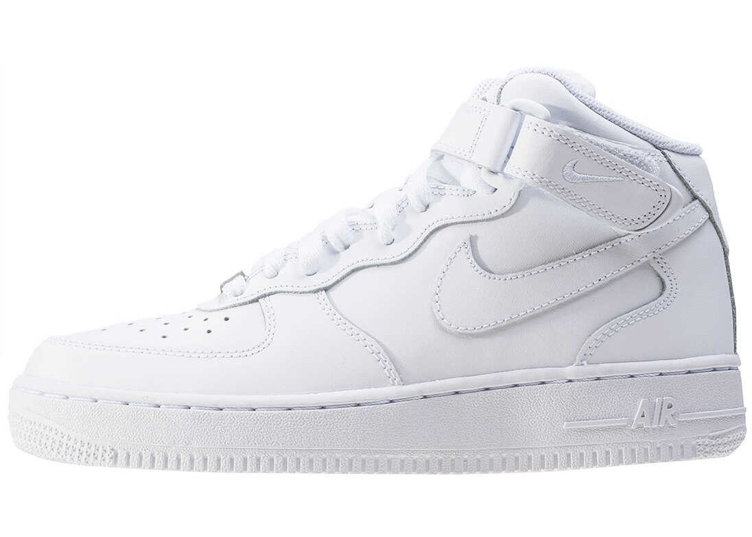 Nike Air Force 1 Mid 06 Gs Kids Trainers In White White White