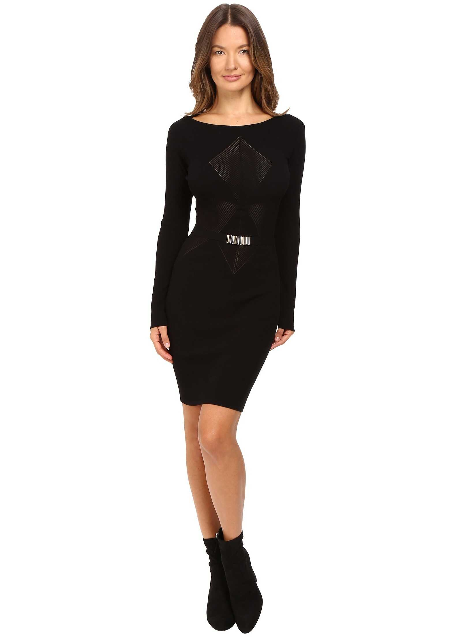 Versace Collection Long Sleeve Knit Geo Dress Black