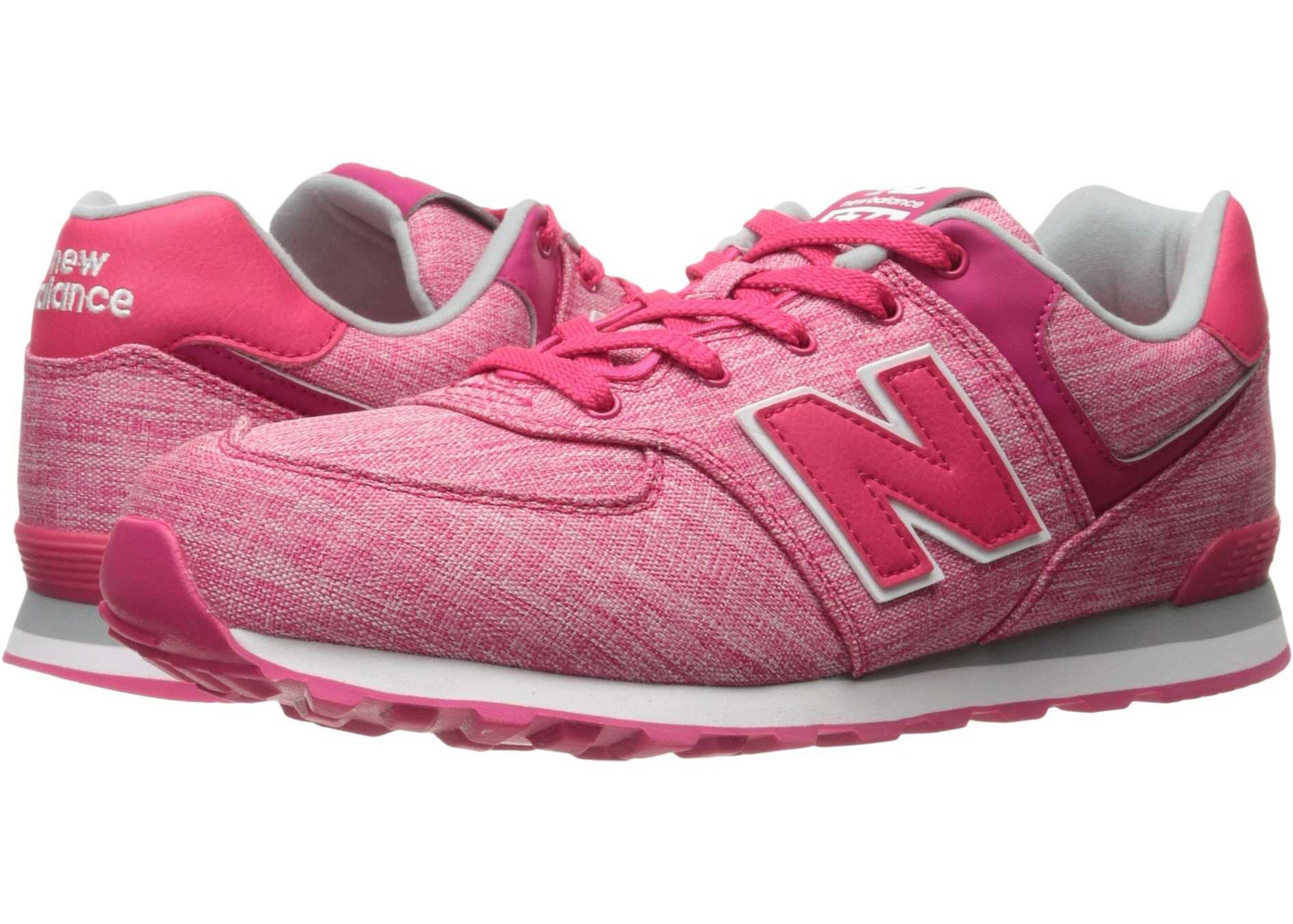 New Balance Kids KL574v1 (Big Kid) Pink/White 3
