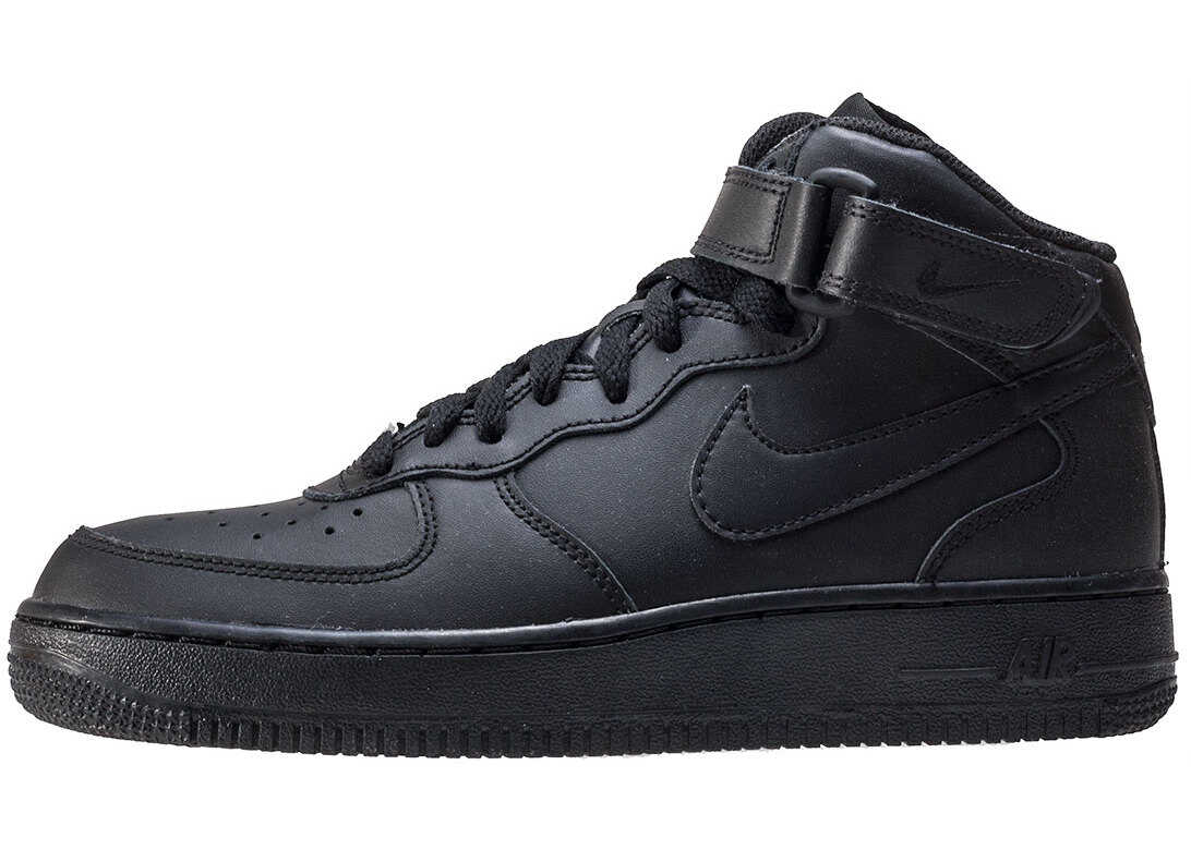 Nike Air Force 1 Mid Gs Kids Trainers In Black Black Black