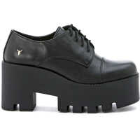 Pantofi cu Toc Black Leather Lace Up Shoes Femei