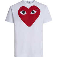 Tricouri White T-Shirt Play By Comme De Garcon With Red Heart And Black Eyes Barbati