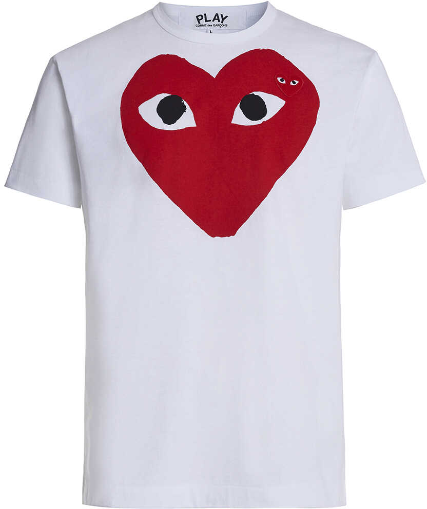Comme des Garçons Play White T-Shirt Play By Comme De Garcon With Red Heart And Black Eyes White