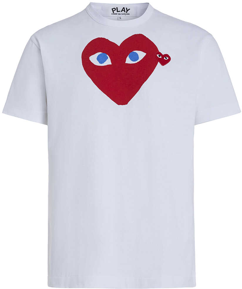 Comme des Garçons Play White T-Shirt Play By Comme De Garcon With Red Heart White