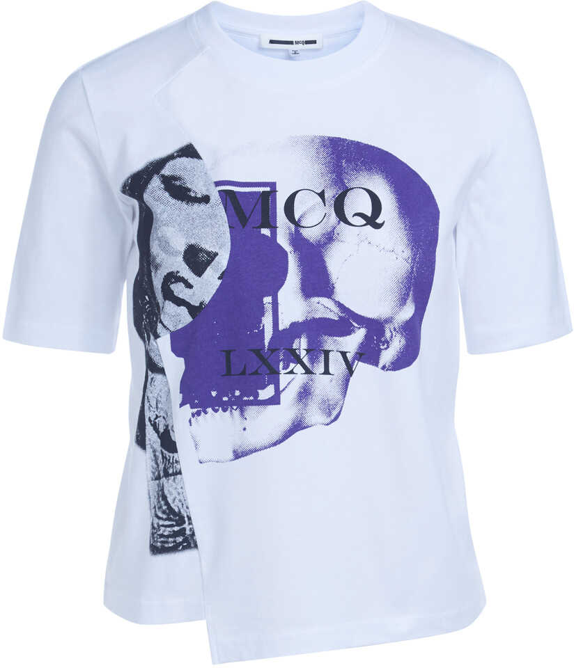 McQ Alexander Mcqueen Asymmetric White T-Shirt With Print White