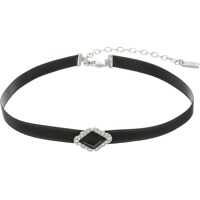 "Coliere 12"" Black Velvet Choker with Jet Silver Crystal Diamond Necklace Femei"