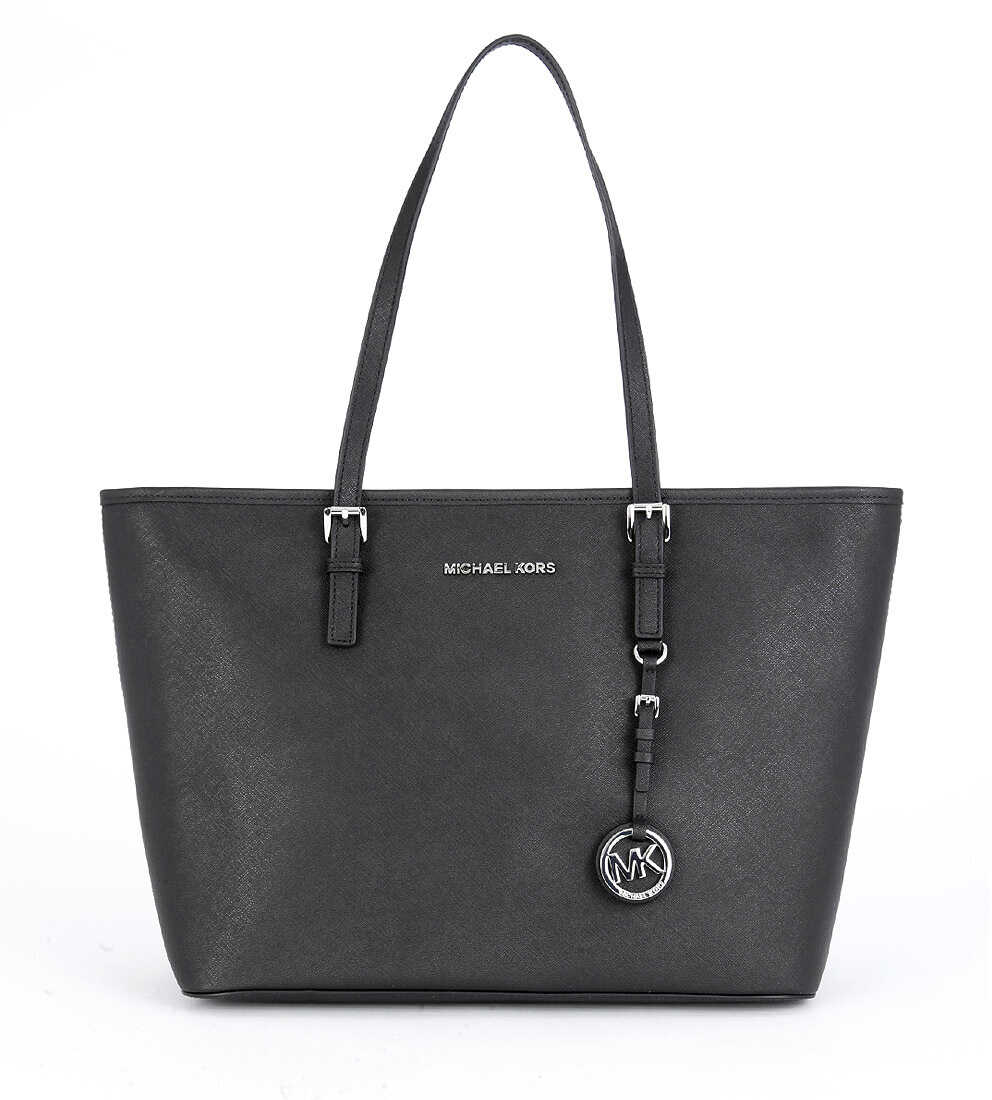 Michael Kors Jet Travel Shoulder Bag In Black Saffiano Leather Black