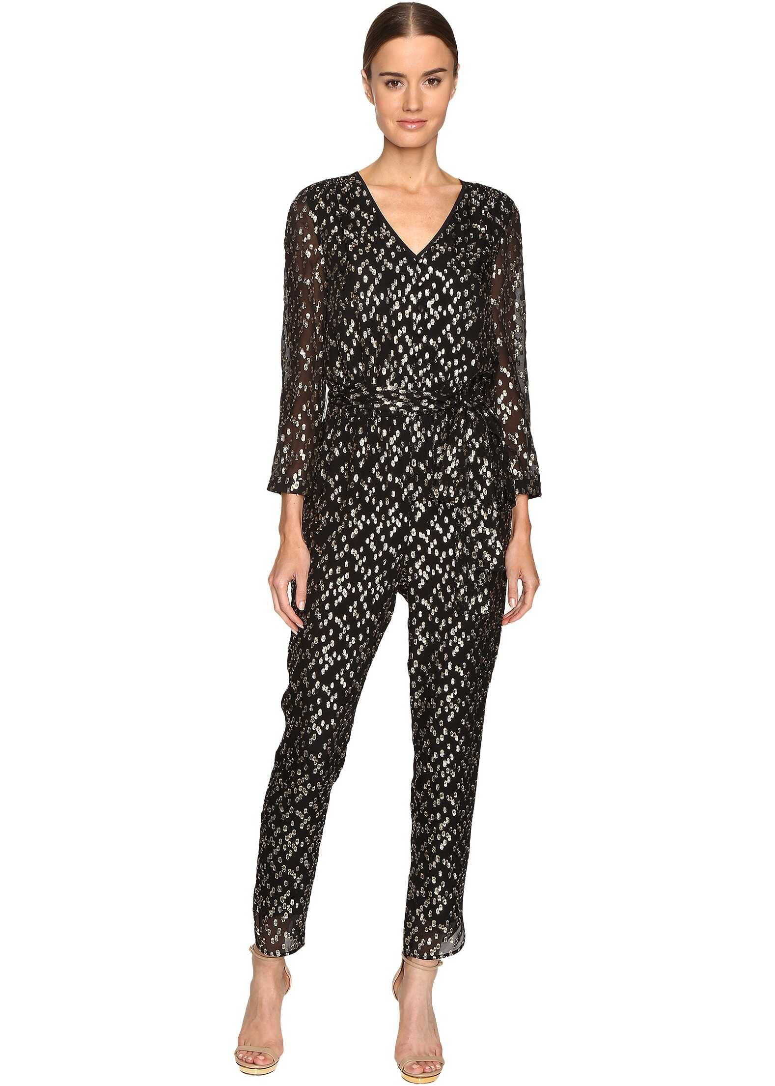 Kate Spade New York Metallic Clipped Dot Jumpsuit* Black/Gold