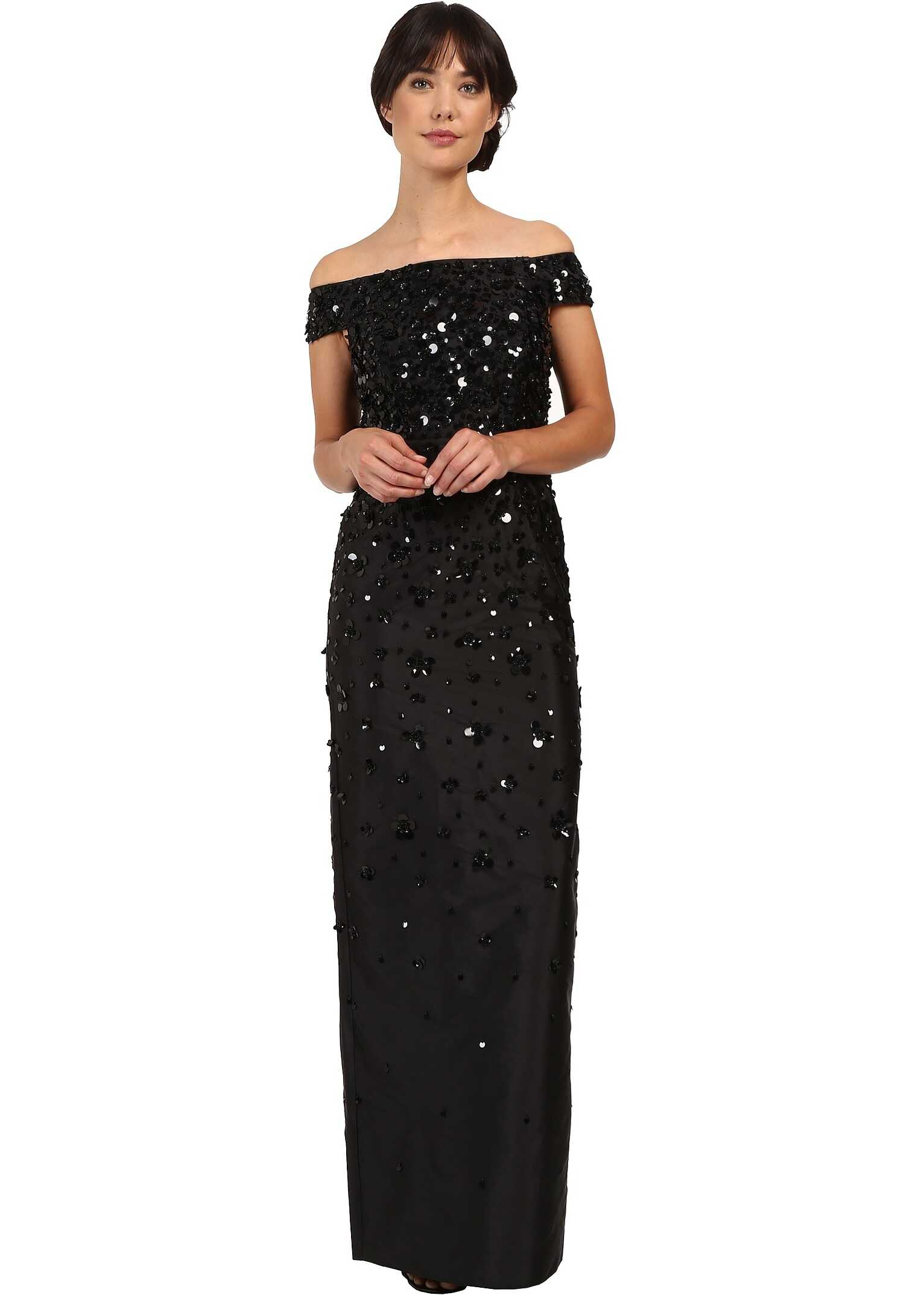 Adrianna Papell Fully Beaded Off Shoulder Gown* Black