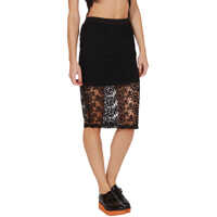 Fuste Midi Pencil Black Skirt With Sheer And Lace Femei
