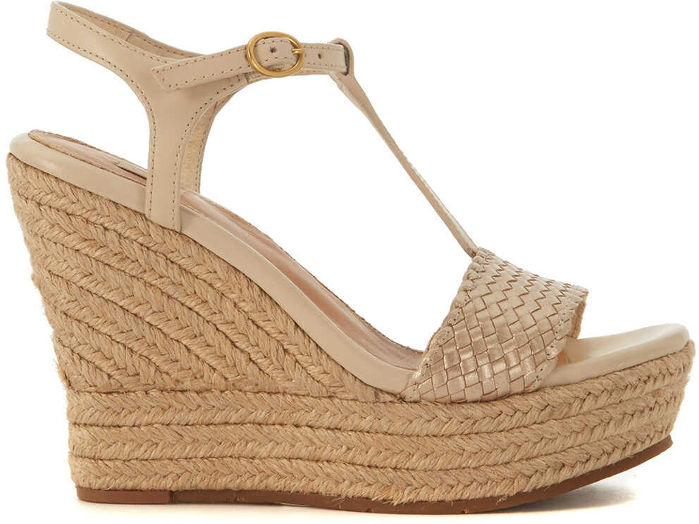 UGG Fitchie Golden Leather Wedge Sandal Gold