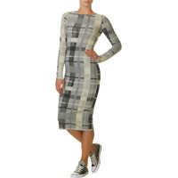 Rochii Women's Grey Midi Dress With Print Femei