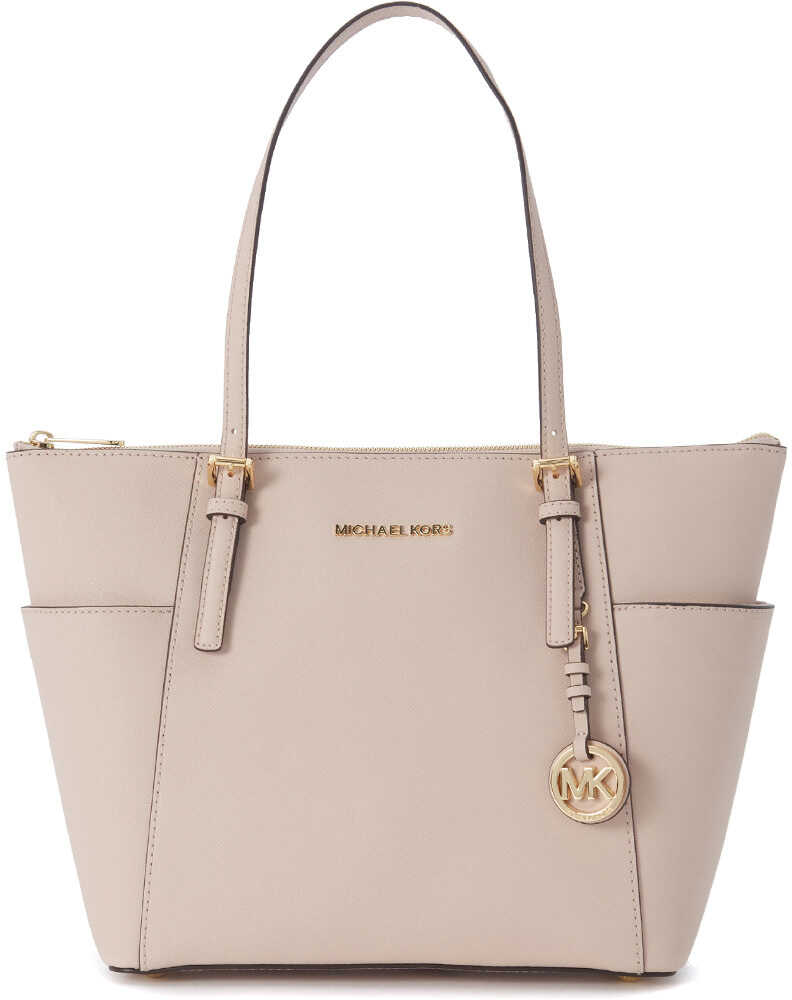 Michael Kors Jet Set Travel Shopping Bag In Pink Saffiano Leather Pink