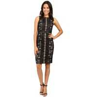 Rochii Fully Lined Striped Lace and Floral Sheath Dress with Jeweled Ne Femei