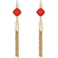Cercei Stone Drop with Fringe Linear Earrings Femei