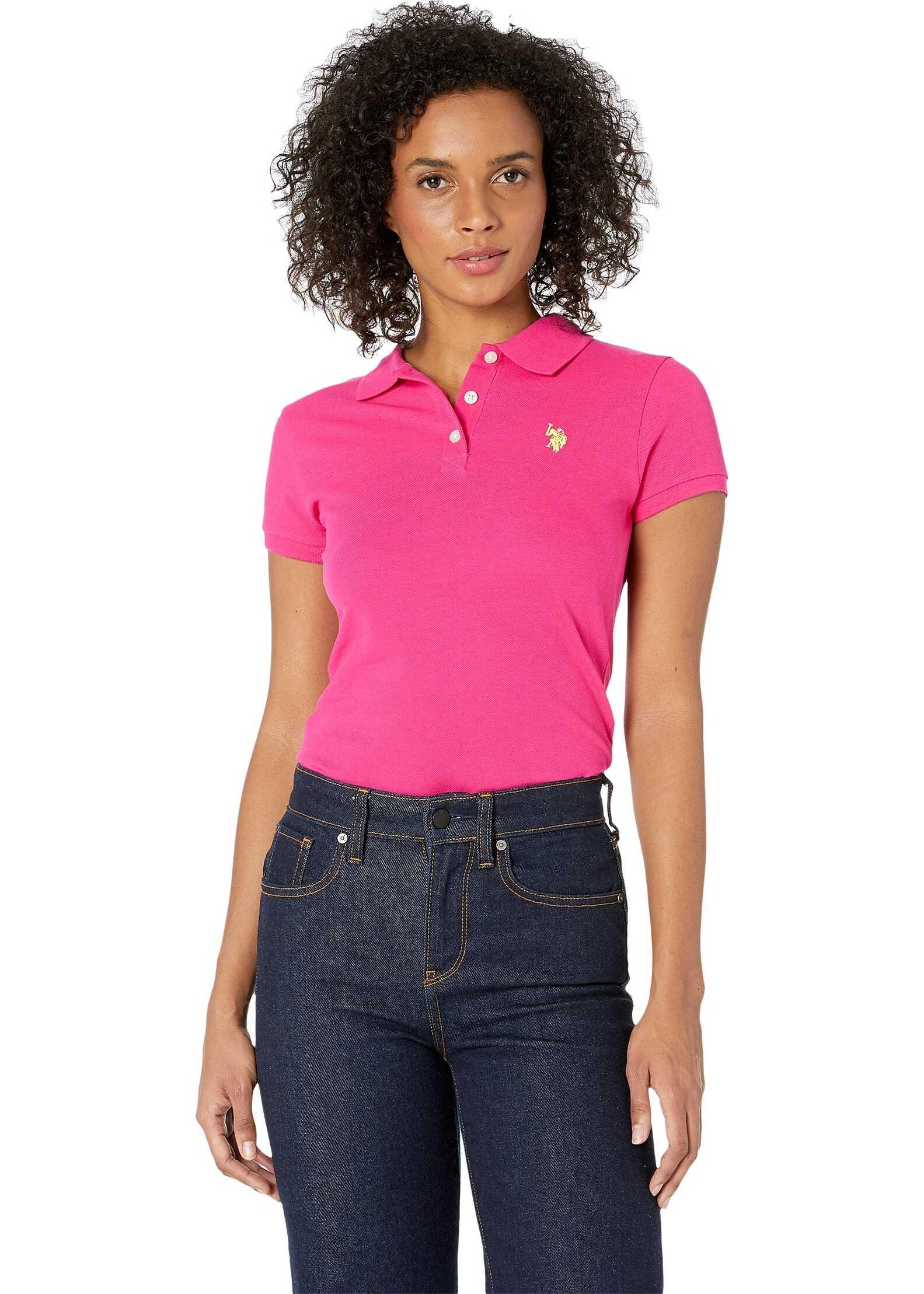 U.S. POLO ASSN. Neon Logo Polo Shirt Pink Sapphire