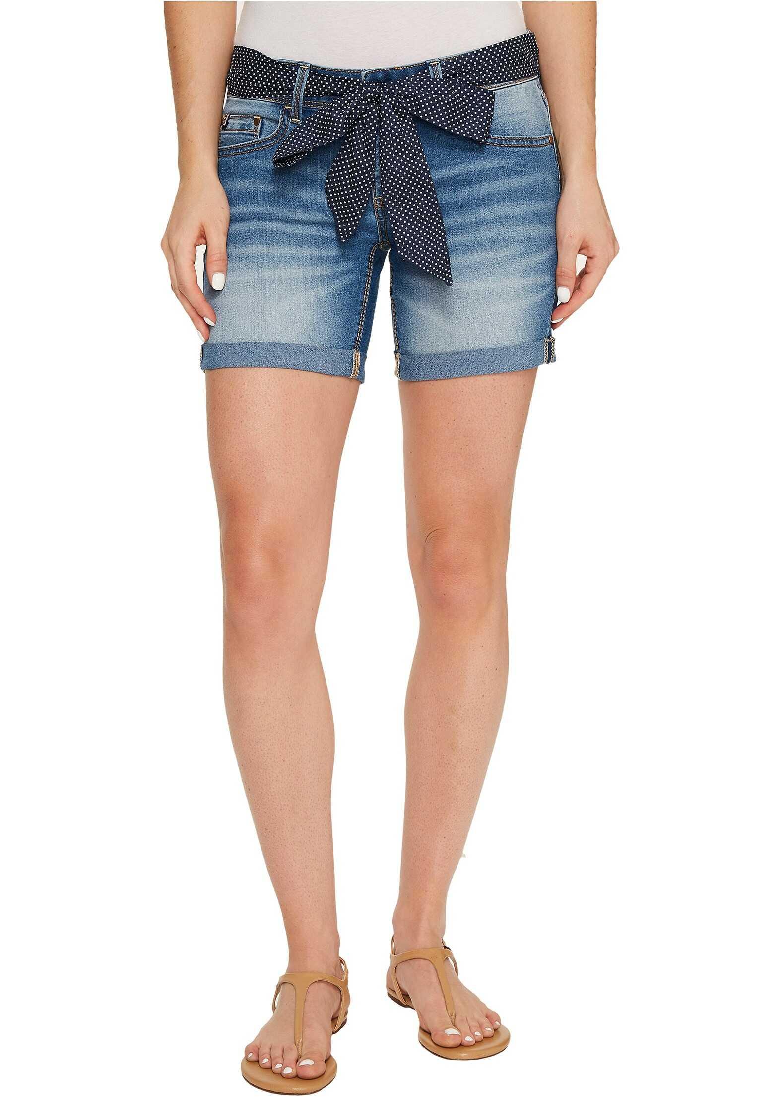 U.S. POLO ASSN. Belted Stretch Denim Five-Pocket Shorts Mid Vintage