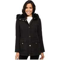 Geci de Iarna Quilted Anorak w/ Removable Hood and Faux Fur Femei