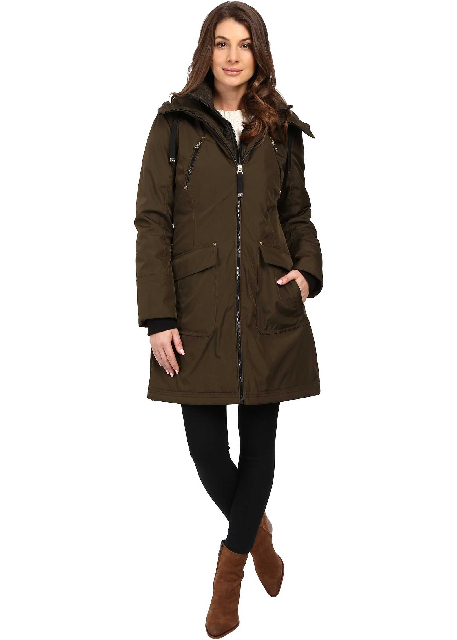 Jessica Simpson Quilted Fill Puffer with Hood and Fleece Bib Loden