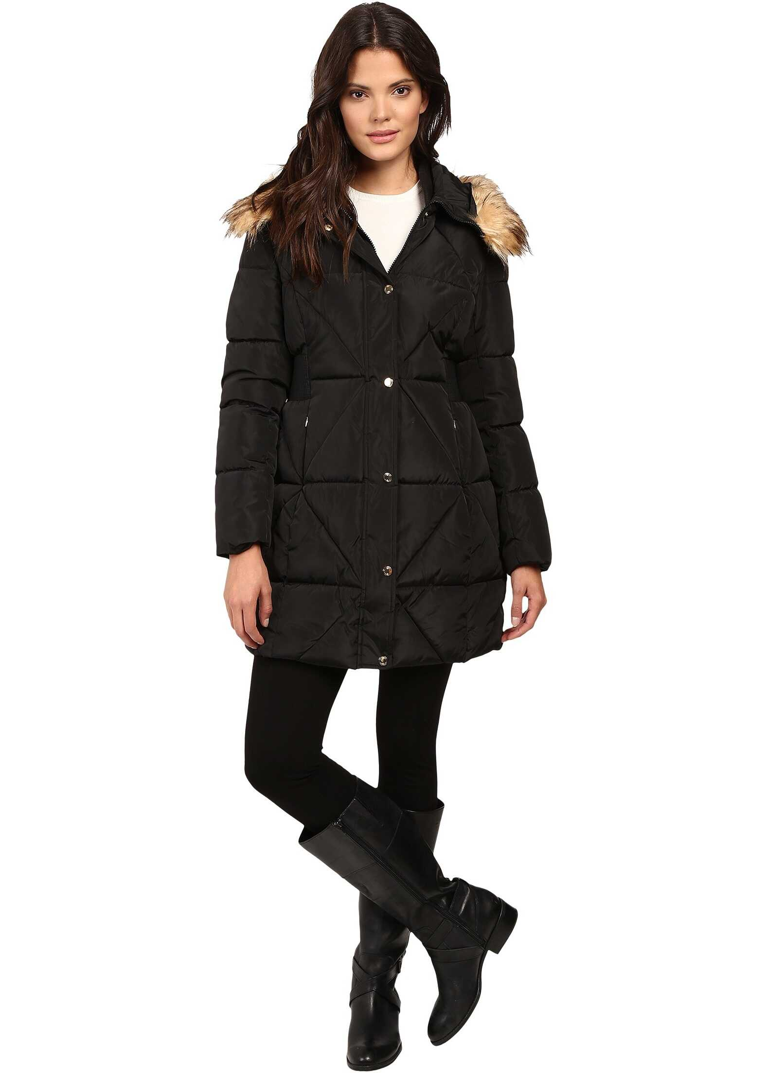 Jessica Simpson Cinched Waist Puffer w/ Hood and Removable Faux Fur Black