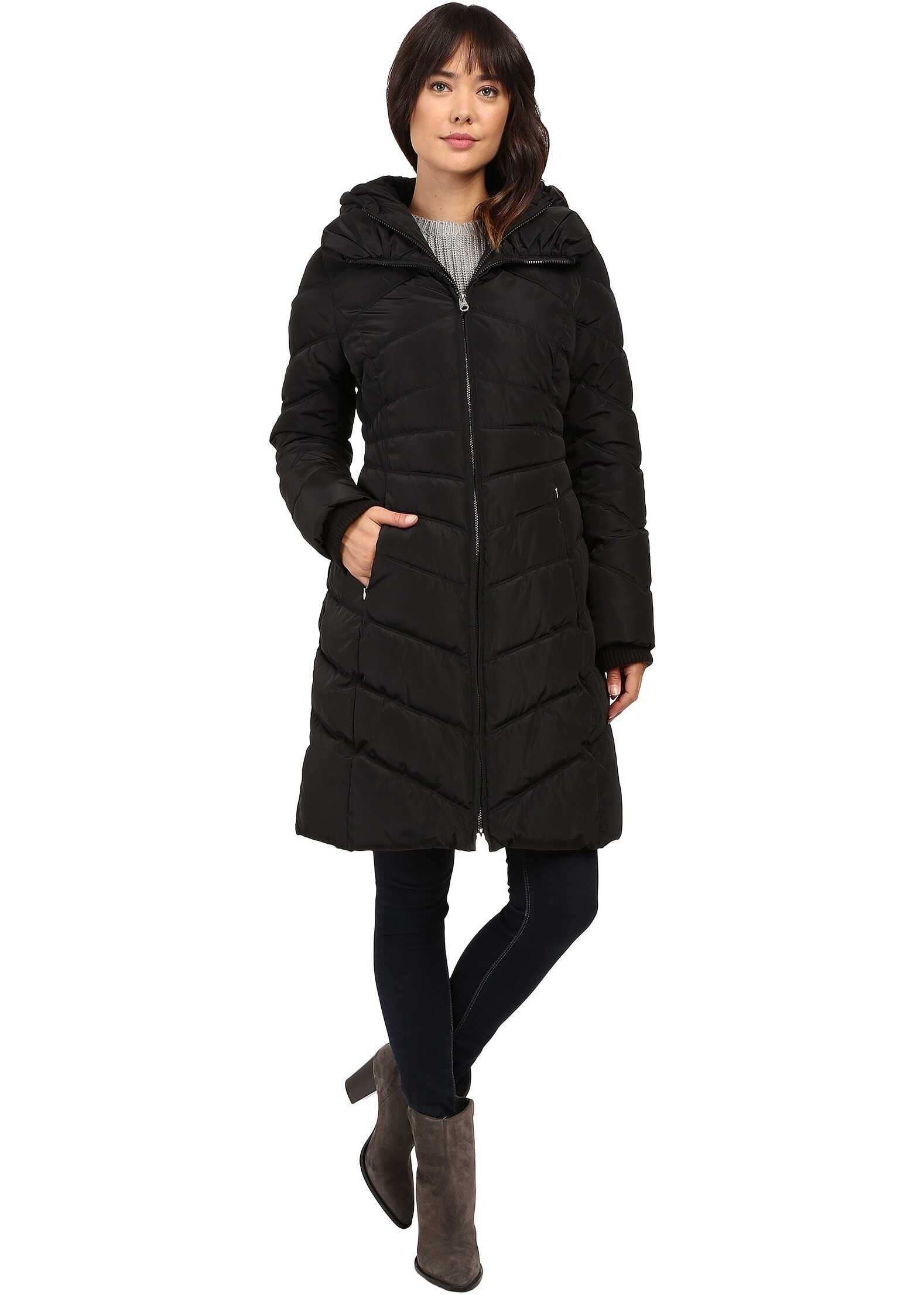 Jessica Simpson Chevron Quilted Down with Hood Black