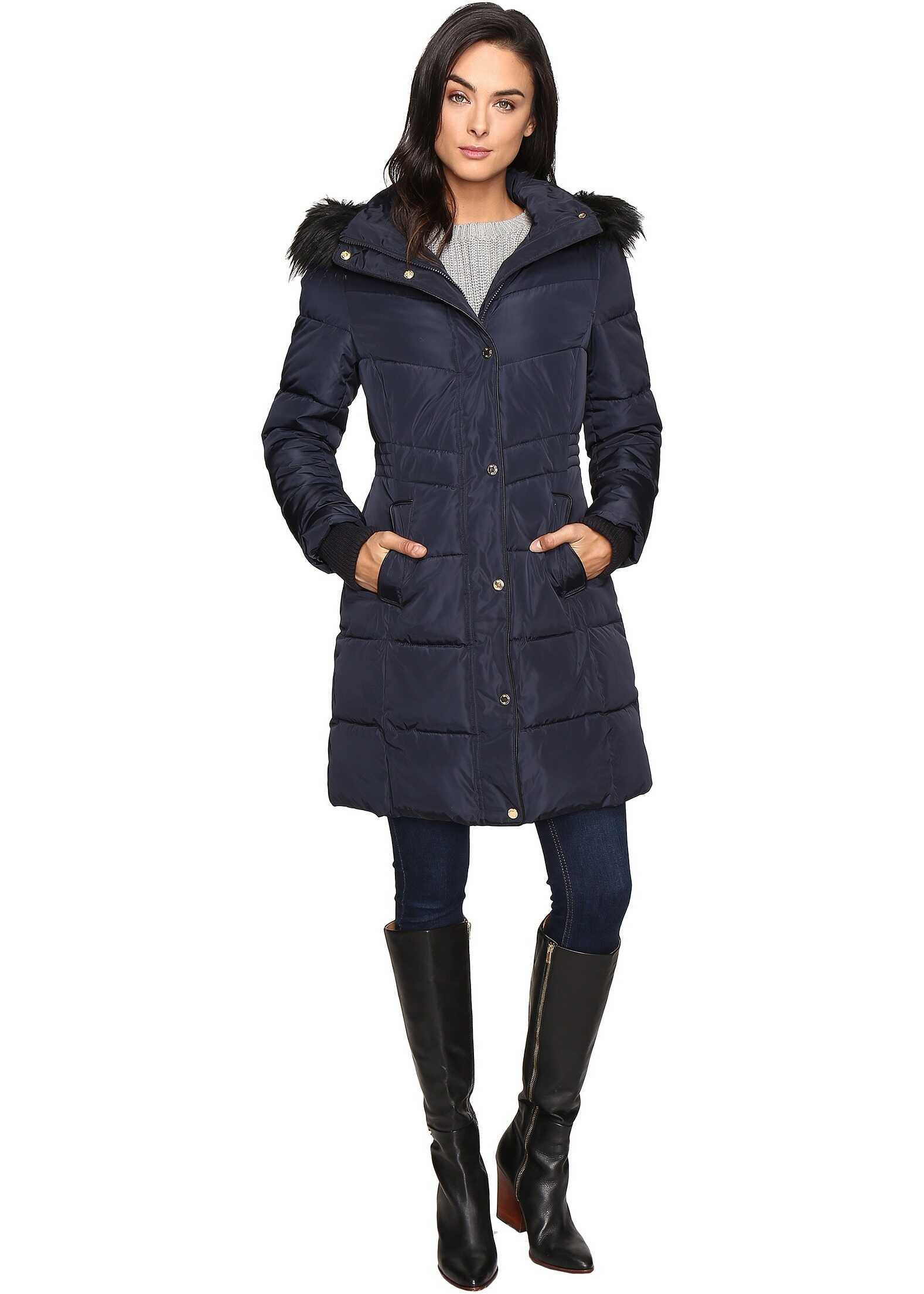 Jessica Simpson Long Puffer w/ Waist Detail Hood and Faux Fur Navy