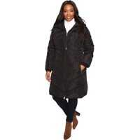 Geci de Iarna Plus Size Chevron Quilted Poly Down Coat with Hood Femei