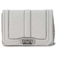 Genti de Mana Chevron Small White Quilted Leather Shoulder Bag Femei