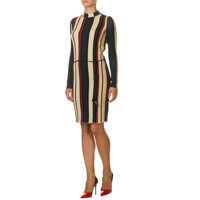 Rochii Stripe High Neck Women's Dress Femei
