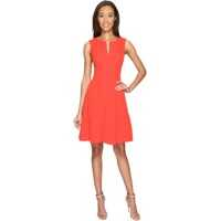 Rochii Seamed Stretch Crepe Fit and Flare Dress with Invisible Zipper Femei