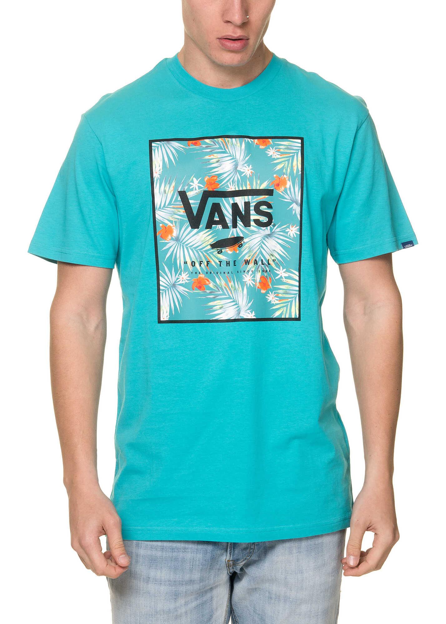 Tricouri vans print box mens turquoise t shirt teal baltic for T shirt printing fairlane mall