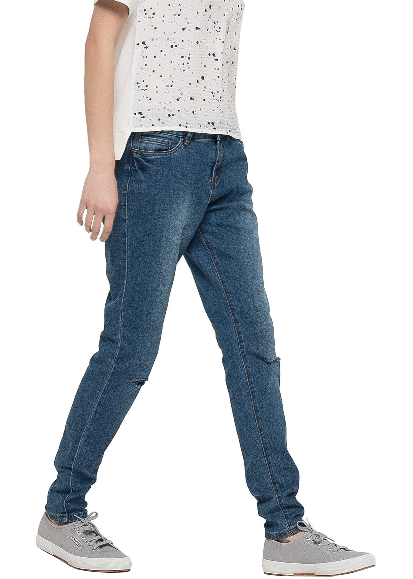 SUBLEVEL Womens Blue Loose Fit Jeans Middle Blue