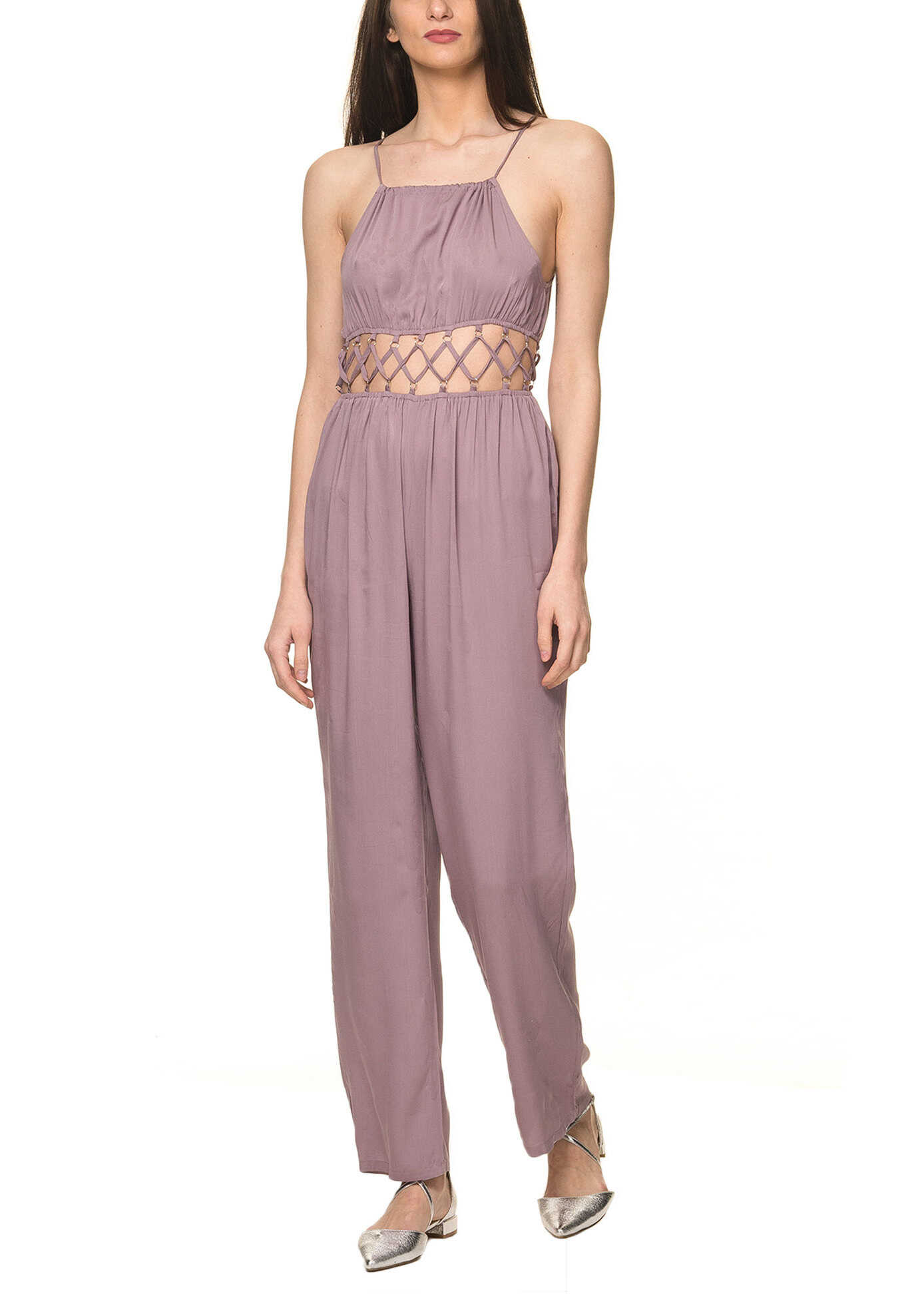 Glamorous Women S Sleeveless Jumpsuit In Pale Purple Color Dusty Lilac