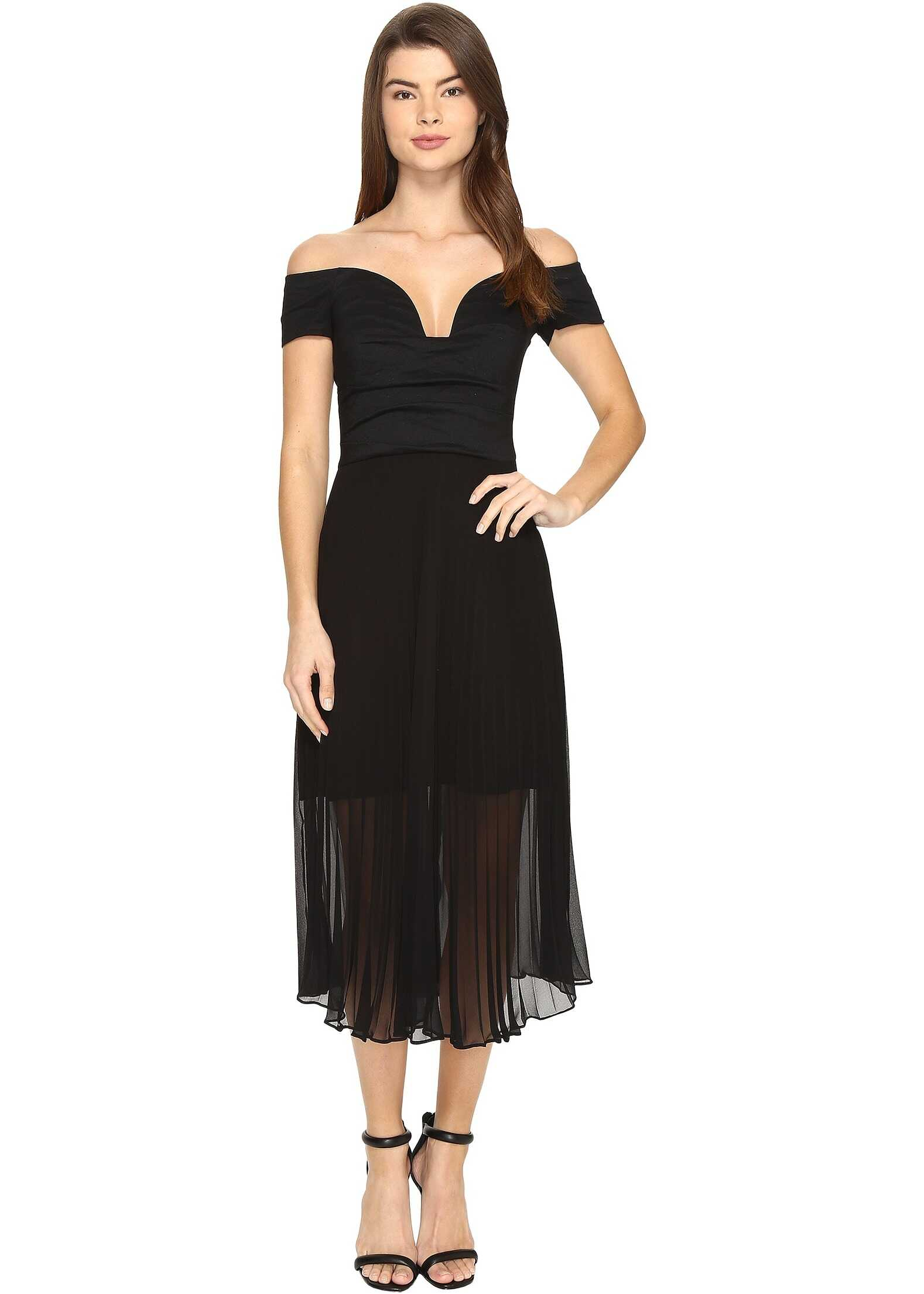 Nicole Miller Solstice Cotton Metal Combo Party Dress Black
