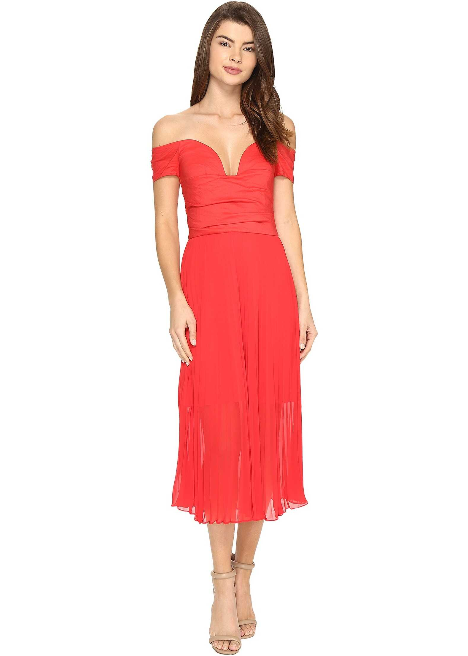 Nicole Miller Solstice Cotton Metal Combo Party Dress Watermelon