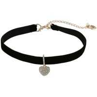 Coliere Pave Heart Charm Choker Necklace Femei