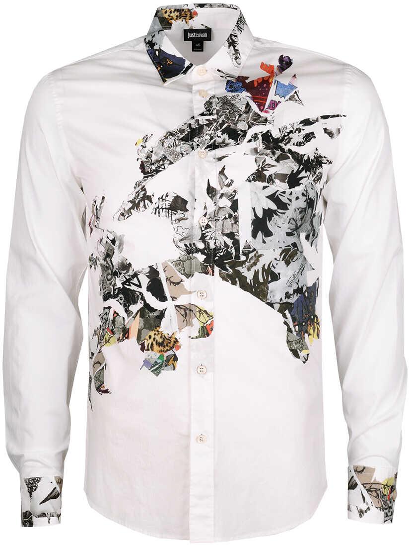 Camasa Barbati Just Cavalli Koszula Slim Biały