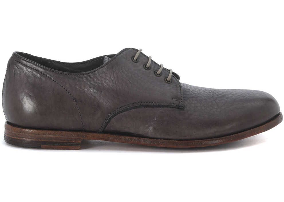 MOMA Grey Washed Leather Lace Up Shoes Grey