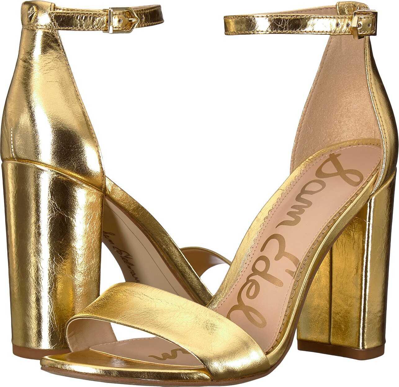 Sam Edelman Yaro Ankle Strap Sandal Heel Bright Gold Distressed Metallic Leather