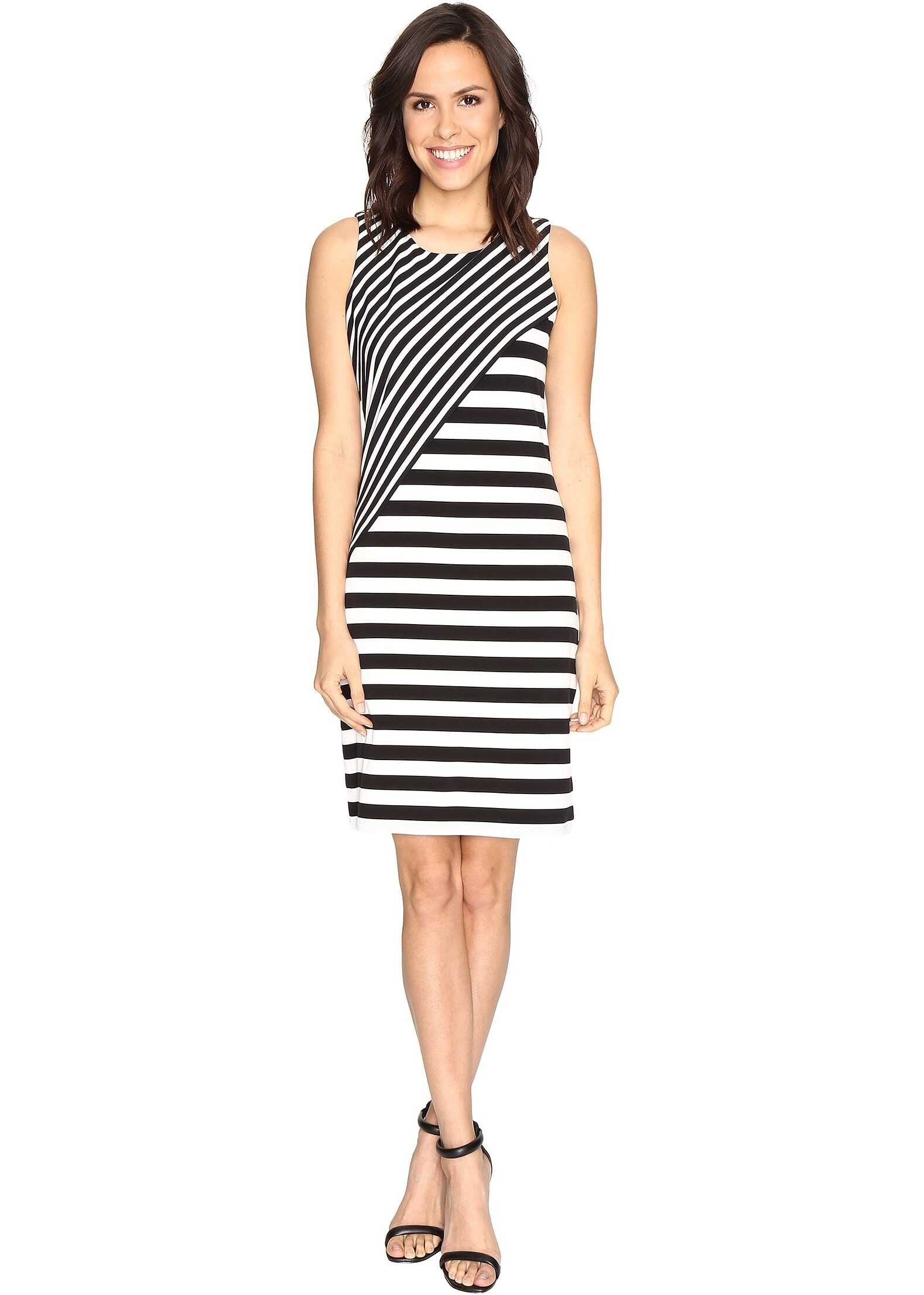 Calvin Klein Striped Combo Dress Black/White