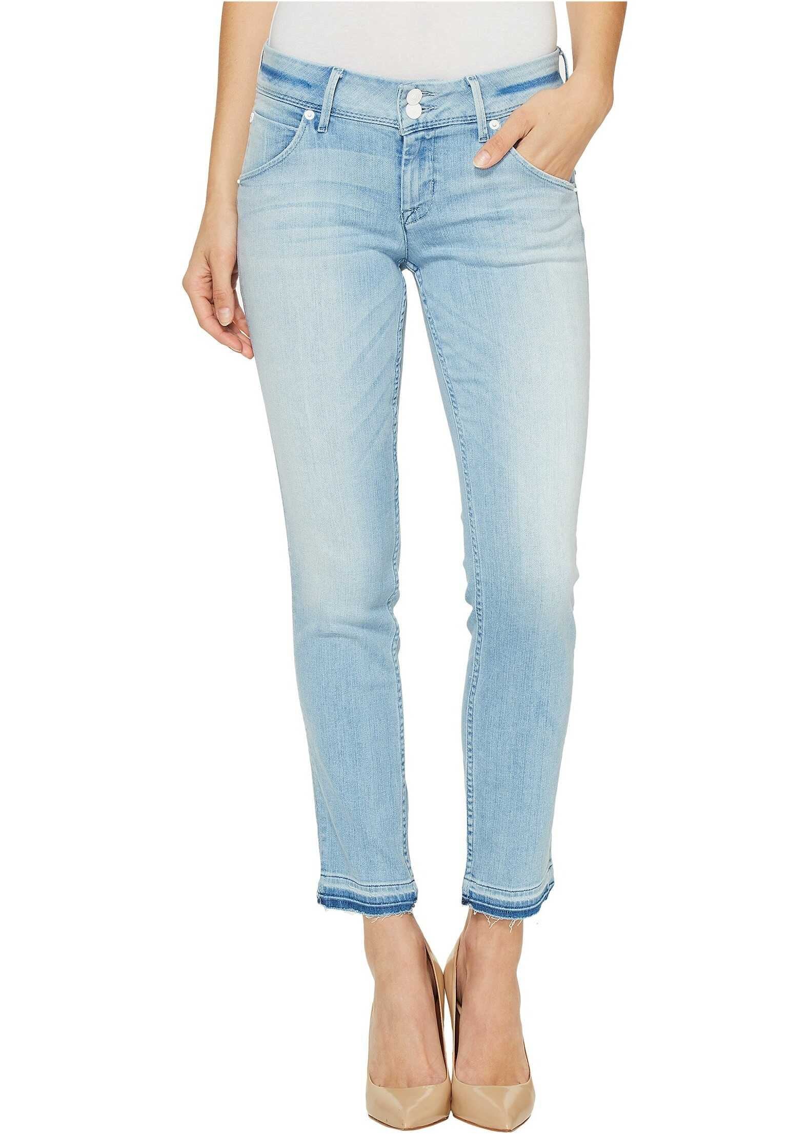 Hudson Collin Skinny Crop Released Hem Flap Pocket Jeans in Light Azure Light Azure