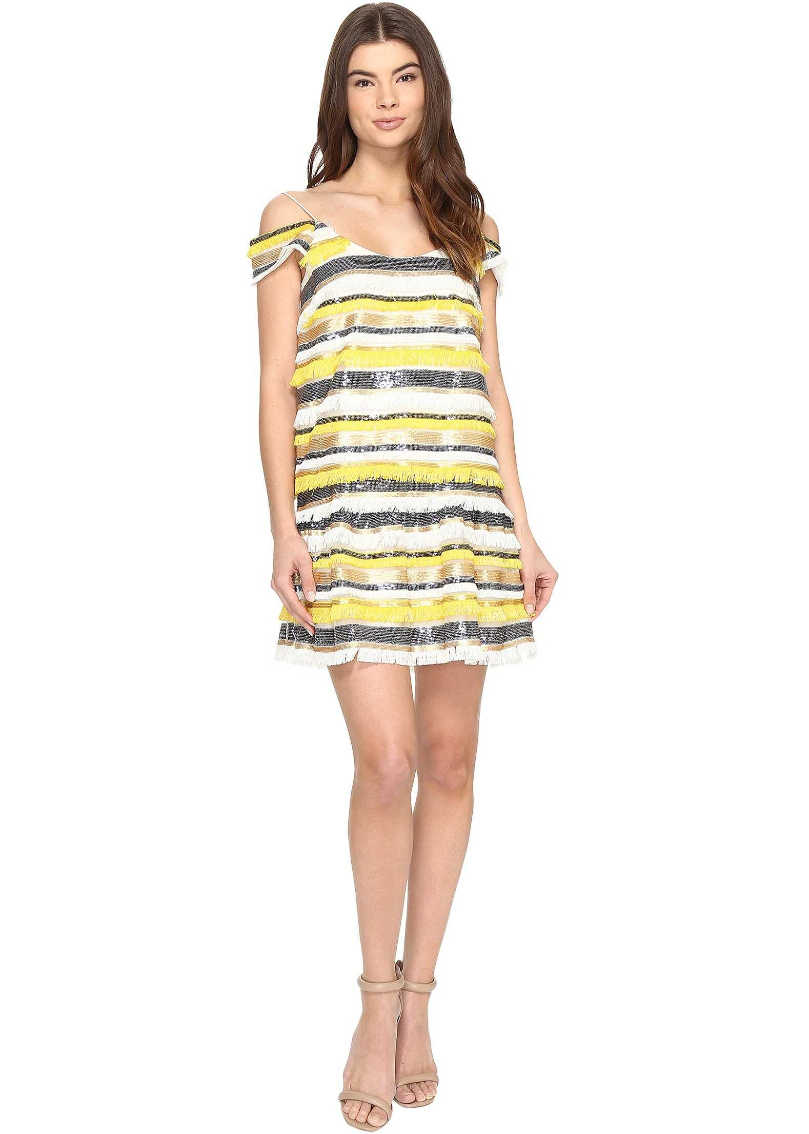 Nicole Miller Trixi Striped Sequin Fringe Party Dress Yellow Multi