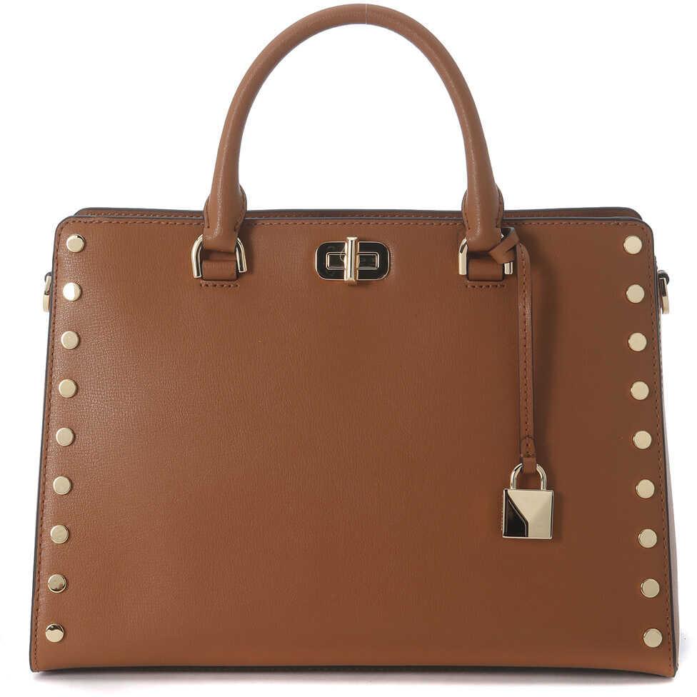 Michael Kors Sylvie Brown Leather Handbag With Studs Brown