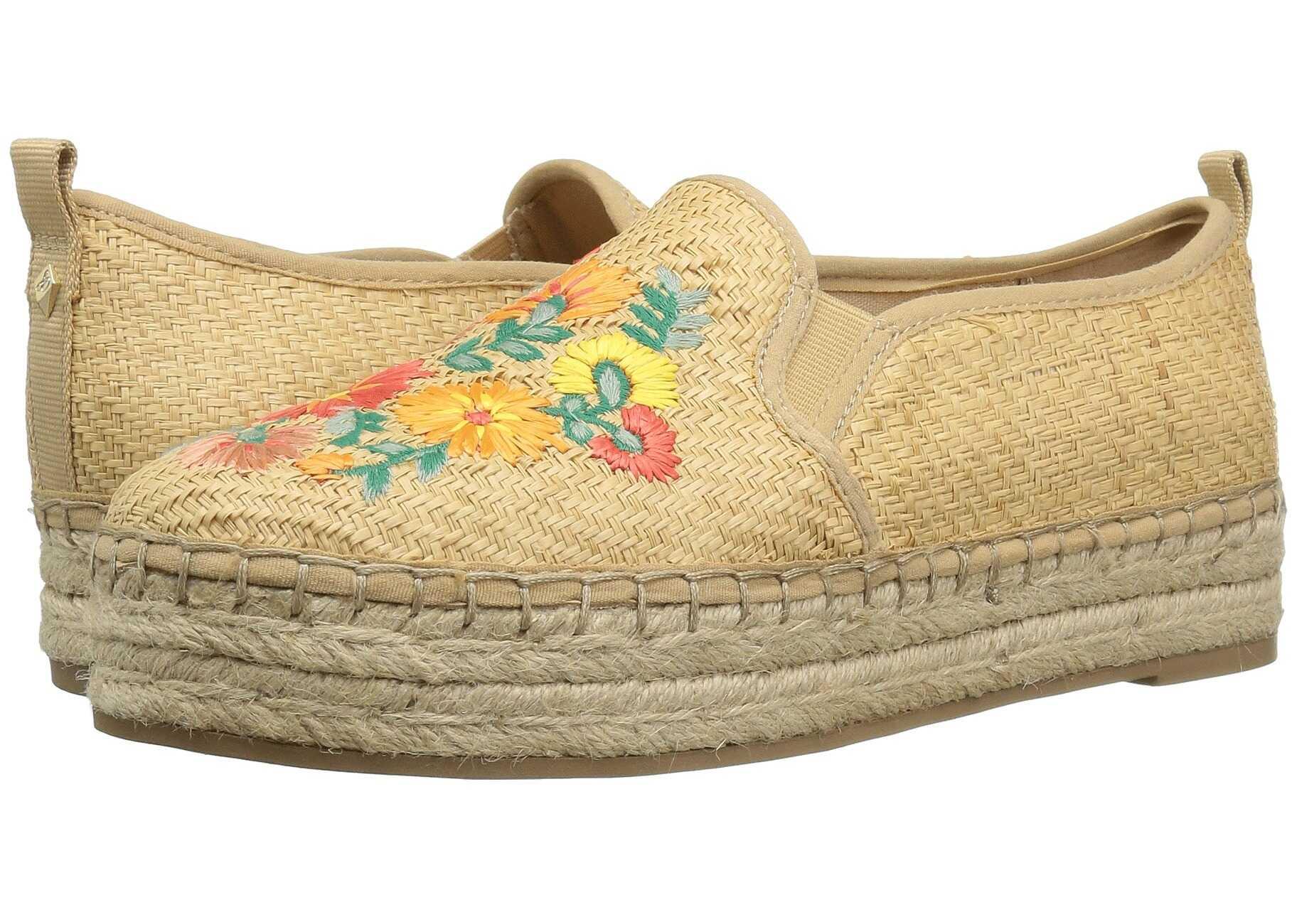 Sam Edelman Carrin 3 Natural Basket Weave Raffia/Bright Multi Riveria Floral Raffia