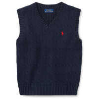 Pulovere Cable-Knit Cotton Sweater Vest Baieti