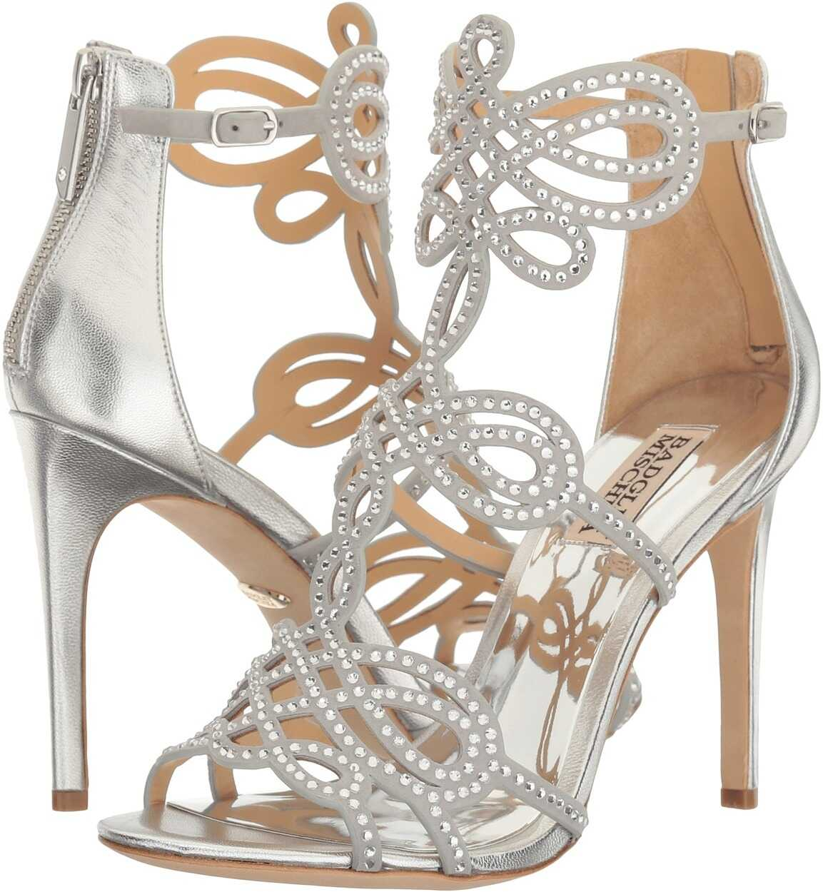 Badgley Mischka Teri Silver Metallic Suede
